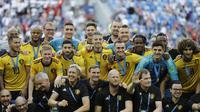 Timnas Belgia menempati peringkat tiga Piala Dunia 2018 usai mengalahkan Inggris 2-0 di Stadium in St. Petersburg, Rusia, Sabtu (14/7/2018). (AP Photo/Natacha Pisarenko)