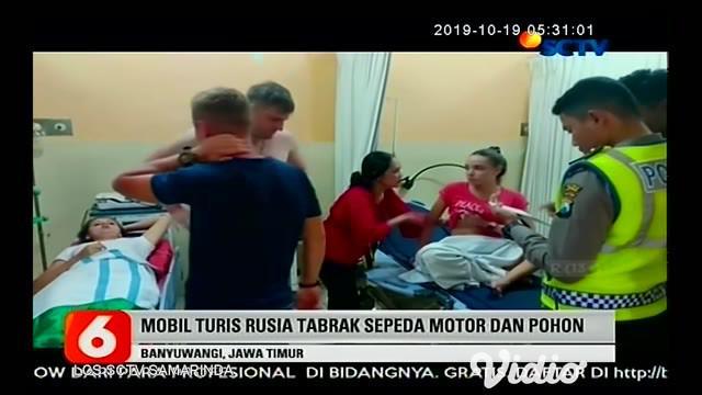 Akibat sopir mengantuk sebuah mini bus berpenumpang 5 warga negara asing Rusia ringsek setelah menabrak sepeda motor dan pohon, beruntung kecelakaan tersebut tidak menelan korban jiwa, 5 turis asal Rusia selamat dan hanya mengalami luka.