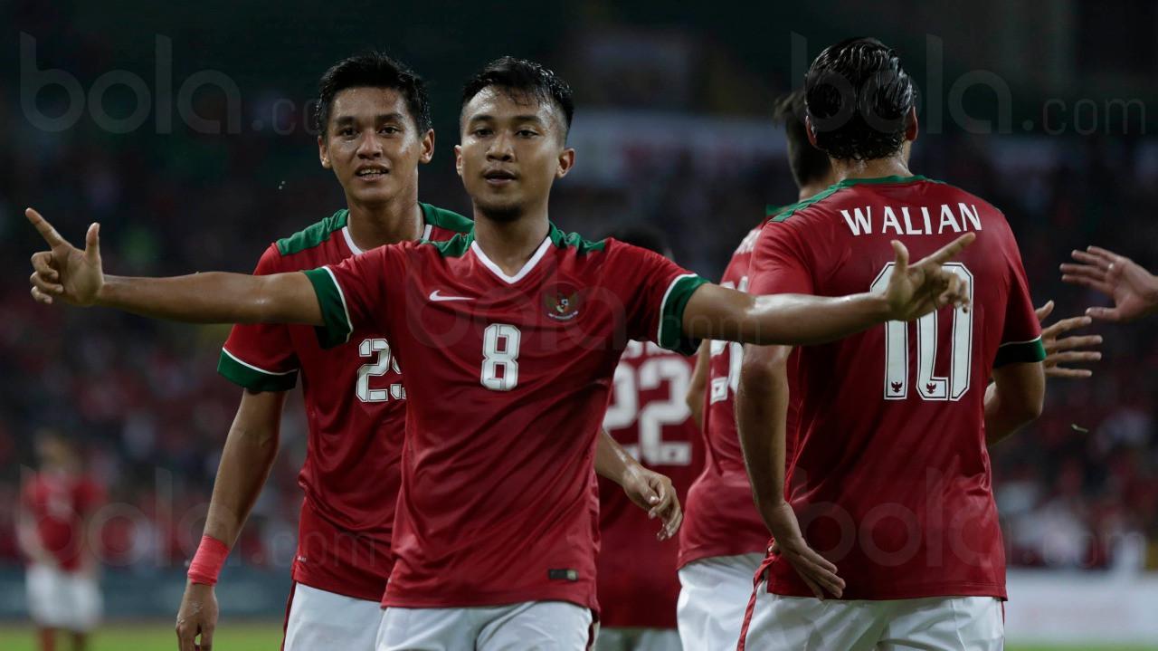Gaya pemain Timnas U-22 Indonesia, Muhammad Hargianto usai membobol gawang Filipina pada SEA Games 2017 di Malaysia, (17/8/2017). Timnas U-22 Indonesia menang 3-0. (Bola.com/Vitalis Yogi Trisna)