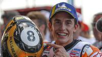 Marc Marquez menjadi juara dunia MotoGP 2019. (AP Photo/Gemunu Amarasinghe)