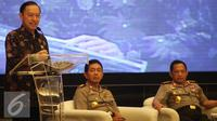 Kepala BKPM Thomas Lembong menyampaikan pemaparan saat acara penandatanganan kerjasama antara BKPM dengan Polri di Jakarta, Senin (19/9). Acara bertema 'Jaminan Keamanan Berinvestasi'. (Liputan6.com/Immanuel Antonius)