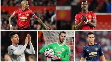 Paul Pogba dan Ashley Young menjadi kandidat kuat untuk menjadi kapten Manchester United. Berikut 5 nama pemain yang layak menyandang status pemimpin di skuat Setan Merah. (Foto Kolase AFP)