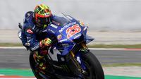 Pebalap Movistar Yamaha, Maverick Vinales, menyebut dirinya sudah mengalami kesulitan sejak awal start di MotoGP Catalunya sehingga tak mampu memberikan yang maksimal. (AFP/Lluis Gene)