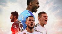 Ilustrasi Pemain - Oliver Giroud, Raheem Streling, Eden Hazard, Toni Kroos (Bola.com/Adreanus Titus)