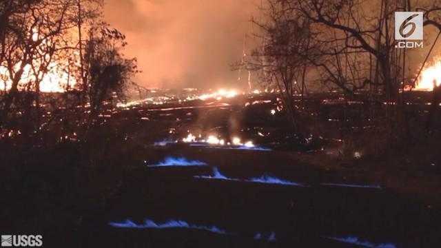 Kobaran api biru dari erupsi Gunung Kilauea tampak menyelimuti salah satu kawasan perumahan di Hawaii.