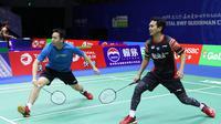 Ganda putra Indonesia, Mohammad Ahsan/Hendra Setiawan, berlatih di Guangxi Sports Center, Nanning, China, Jumat (17/5/2019), jelang laga pertama Piala Sudirman 2019. (PBSI)