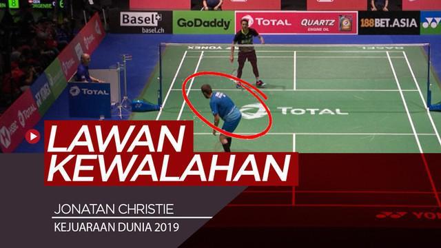 Berita video momen tunggal putra Indonesia, Jonatan Christie, membuat lawannya, Jan O. Jorgensen, kewalahan pada babak ketiga Kejuaraan Dunia Bulu Tangkis 2019, Kamis (22/8/2019).