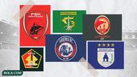 Kolase - Logo Klub PSM Makassar, Persik Kediri, Persebaya Surabaya, Arema FC, Sriwijaya FC, Persipura Jayapura (Bola.com/Adreanus Titus)