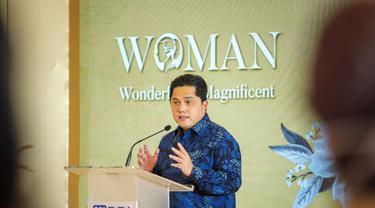 Menteri BUMN RI Erick Thohir hadiri peringatan Hari Kartini yang diselenggarakan BRI yang bertajuk Woman (Wonderful & Magnificent). (Dok BRI)