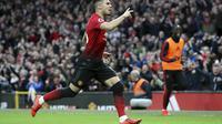 Gelandang Manchester United (MU)  Andreas Pereira merayakan golnya ke gawang Southamtpon dalam lanjutan Liga Inggris di Old Trafford, Sabtu (2/3/2019). (Martin Rickett/PA via AP)