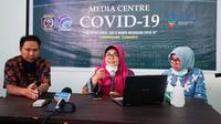 Wali Kota Bontang Neni Moerniaeni saat memberikan konferensi pers terkait penanganan Covid-19. (Foto: Humas Pemkot Bontang)