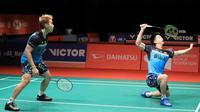 Kevin Sanjaya Sukamuljo/Marcus Fernaldi Gideon mengalahkan Goh V Shem/Tan Wee Kiong (Malaysia) 21-18, 24-22 pada semifinal Malaysia Masters 2019. (Bola.com/Dok PBSI)