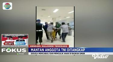 Culik dan lakukan pencabulan kepada anak di bawah umur, seorang mantan anggota TNI menjadi bulan-bulanan massa setelah ditangkap petugas Denpom di Kendari.