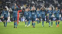 Kiper Real Madrid, Keylor Navas, mengatakan timnya harus tetap membumi meski baru mengalahkan Juventus dengan skor 3-0 pada leg pertama babak perempat final Liga Champions 2017-2018 di Allianz Stadium. (AFP/Alberto Pizzoli)