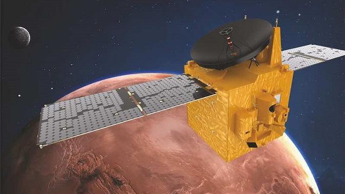 Ilustrasi probe Al Amal atau Hope yang berhasil memasuki orbit Mars. (Foto: Mohammed bin Rashid Space Centre)