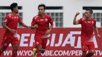 Bek Persija Jakarta, Ismed Sofyan, melakukan selebrasi usai membobol gawang Bali United pada laga Piala Indonesia 2019 di Stadion Wibawa Mukti, Minggu (5/5). Persija menang 1-0 atas Bali United. (Bola.com/M Iqbal Ichsan)