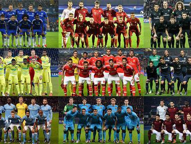 Deretan tim-tim Eropa yang siap bertarung pada babak 16 Liga Champions. (Bola.com)