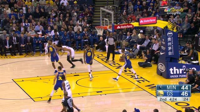 Stephen Curry memimpin semua penilaian dengan 38 poin untuk menyertai tujuh rebound ketika Warriors menang atas Timberwolves, 116-108