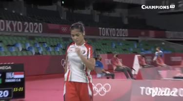 Tunggal putri bulu tangkis Indonesia Gregoria Mariska tumbangkan Lianne Tan dari Belgia dengan skor 21-11, 21-17, Rabu (28/7). Kemenangan ini mebawa Gregoria lolos ke babak 16 besar.