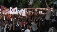 Calon presiden no urut 2 Joko Widodo melakukan kampanye di Taman Balaikambang, Surakarta, Jawa Tengah (20/6/14) (Liputan6.com/Herman Zakharia)