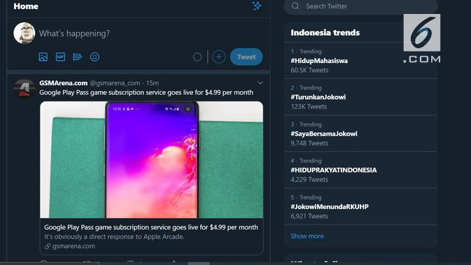 Demo mahasiswa di beberapa kota di Indonesia menjadi trending topic di Twitter. (Doc: Twitter)