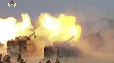 Latihan artileri berskala besar Korea Utara. (KRT/AP)