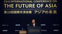 Wapres Jusuf Kalla berpidato dalam Konferensi Internasional ke-23 tentang Masa Depan Asia di Tokyo, Jepang, Senin (5/6). Konferensi untuk mengetahui pandangan pemimpin-pemimpin Asia dalam menghadapi ketidakpastian prospek ekonomi global (Tim Media Wapres)