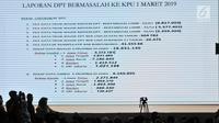 Sebuah layar menunjukkan data laporan DPT bermasalah ke KPU saat acara Mengungkap Fakta-Fakta Kecurangan Pilpres 2019 di Jakarta, Selasa (14/5/2019). Dalam acara ini turut hadir para petinggi BPN dan menampilkan bukti-bukti kecurangan Pemilu 2019 yang ditemukan tim BPN. (merdeka.com/Iqbal S Nugroho)