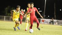 Gelandang Timnas Indonesia U-22, Zulfiandi, beraksi saat menghadapi Brunei Darussalam dalam laga kontra Brunei Darussalam di Grup B sepak bola SEA Games 2019, Selasa (3/12/2019). (Dok. PSSI)