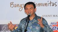 Gubernur DKI Jakarta Basuki Tjahaja Purnama memberikan pidato, Jakarta, (5/3). Kegiatan bertujuan menginspirasi semua pihak ikut serta dalam proyek rusunawa. dan RPTRA sebagai sarana dalam membangun komunitas harapan bangsa. (Liputan6.com/Helmi Afandi)