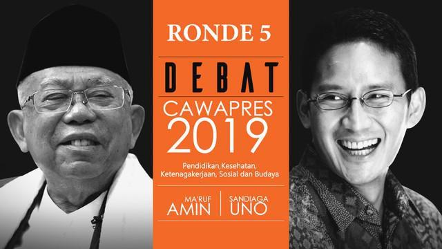 Debat ketiga Pilpres 2019 sesi kelima dengan tema Pendidikan, Kesehatan, Ketenagakerjaan, Sosial, dan Budaya berlangsung di Hotel Sultan, Jakarta.