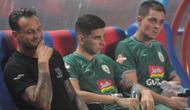 Trio pemain asing PSS Sleman (dari kiri ke kanan) Alfonso De La Cruz, Brian Ferreira, dan Batata, dipastikan absen menghadapi Tira Persikabo, Senin (19/8/2019). (Bola.com/Vincentius Atmaja)