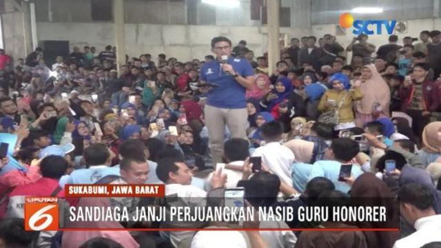Safari politik di Sukabumi, Sandiaga Uno janji perjuangkan nasib guru honorer.
