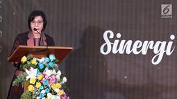 Menteri Keuangan Sri Mulyani memberi sambutan saat memberikan apresiasi dan penghargaan kepada 30 Wajib Pajak (WP) di Jakarta, Rabu (13/3). Dari 30, terdapat enam pengusaha yang masuk dalam kategori WP Orang Pribadi. (Liputan6.com/JohanTallo)