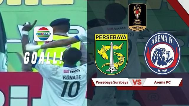 Berita video highlights gol kedua dari Arema FC pada final leg pertama Piala Presiden 2019 menghadapi Persebaya Surabaya di Gelora Bung Tomo, Selasa (9/4/2019).