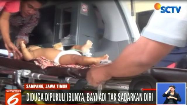 Diduga dipukul ibunya yang mengalami depresi, bayi umur sembilan bulan mengalami memar dan pingsan.