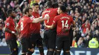 Manchester United menang 2-1 atas West Ham United pada lanjutan Premier League di Old Trafford, Minggu (14/4/2019) dini hari WIB. (AP Photo)