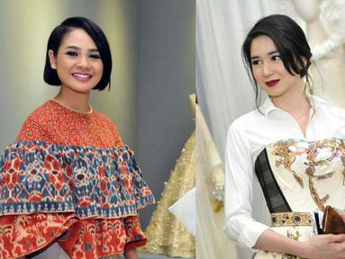 Andien dan Laura tampil cantik saat menghadiri pameran busana karya Didi Budiarjo di Museum Tekstil, Kamis (15/1/2015). (Liputan6.com/Panji Diksana)