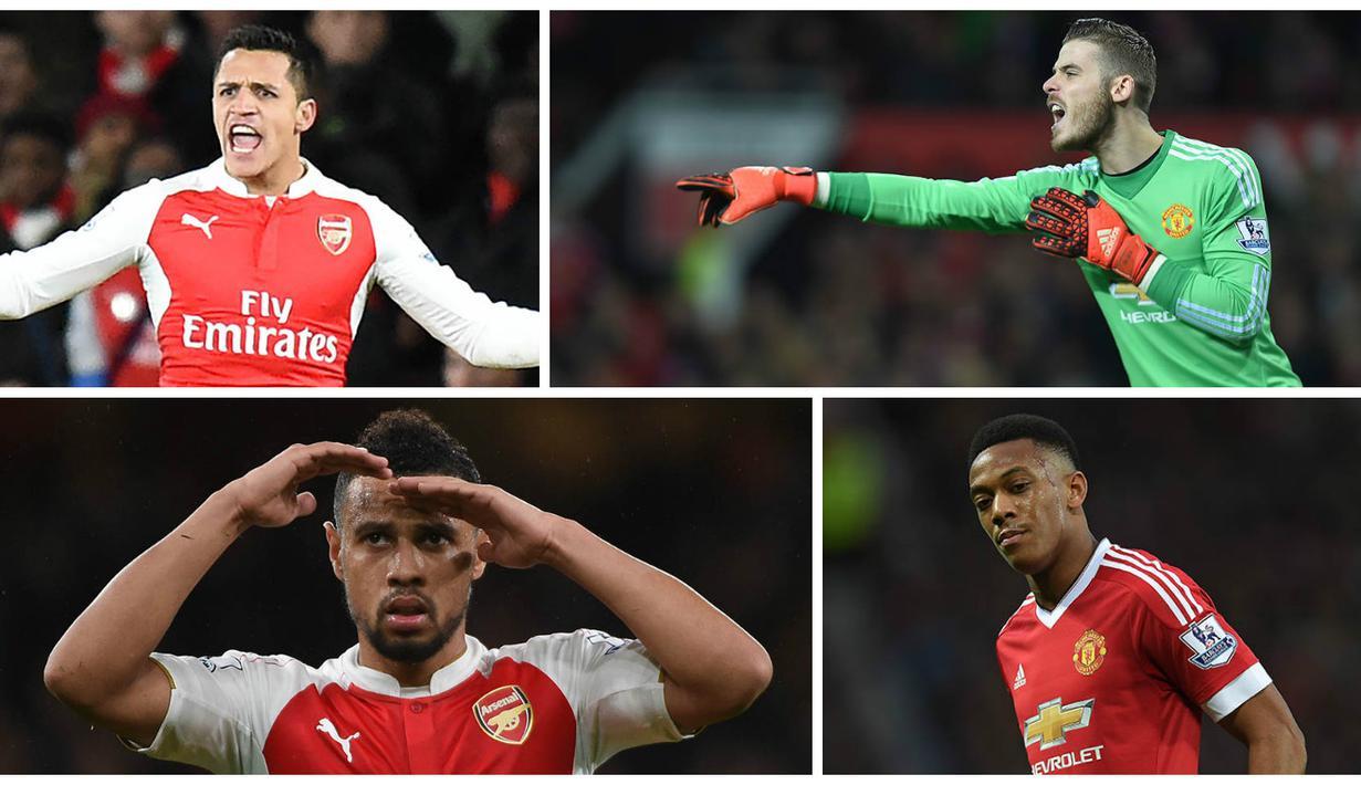 """Malam nanti akan tersaji big match Liga Premier Inggris antara Manchester United melawan Arsenal. Berikut kombinasi """"Best XI"""" kedua tim yang disusun menggunakan skema formasi 4-3-3. (EPA)"""