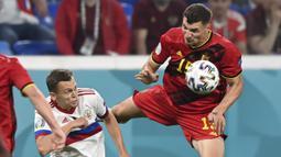 Thomas Meunier. Bek Belgia berusia 29 tahun ini mencetak 1 gol, 1 assist dan 2 clean sheet dalam 3 laga di fase grup. Bersama Borussia Dortmund musim lalu, ia hanya tampil dalam 21 laga dan separuhnya diawali dari bangku cadangan. (Foto: AP/Pool/Kirill Kudryavtsev)