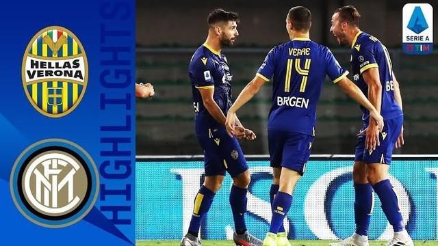Berita video gol-gol yang tercipta ketika Inter Milan ditahan imbang 2-2 melawan Hellas Verona pada pekan ke-31 Serie A 2019-2020, Jumat (10/7/2020) dini hari WIB.