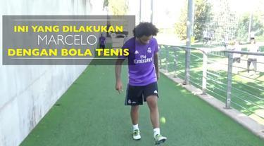 Video bek Real Madrid, Marcelo, menunjukkan kebolehan mengolah bola tenis.