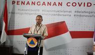 Juru Bicara Penanganan COVID-19 di Indonesia, Achmad Yurianto saat konferensi pers secara Live di Graha BNPB, Jakarta, Senin (30/3/2020).