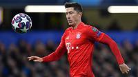 Sejauh ini Lewandowski telah mengokoleksi 47 gol bersama Bayern Munchen di Liga Champions. Torehan gol tersebut membuat Lewandowski menduduki posisi kelima sebagai pencetak gol terbanyak sepanjang Liga Champions. (AFP/Ben Stansall)