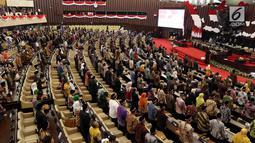 Suasana Sidang paripurna ke-2 MPR RI di Gedung Nusantara Kompleks Parlemen, Senayan, Jakarta, Rabu (2/10/2019). Rapat tersebut memiliki agenda mengesahkan jadwal acara sidang dan membentuk fraksi-fraksi dan kelompok Dewan Pimpinan Daerah (DPD). (Liputan6.com/Johan Tallo)