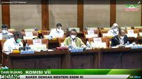Menteri Energi dan Sumber Daya Mineral Arifin Tasrif dalam Rapat Kerja dengan Komisi VII DPR, Selasa (19/1).