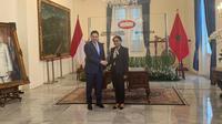 Menlu Retno terima kunjungan kerja dari Menlu Maroko, Nasser Bourita di Gedung Pancasila, Kementerian Luar Negeri.(Source: Liputan6.com/Benedikta Miranti T.V)
