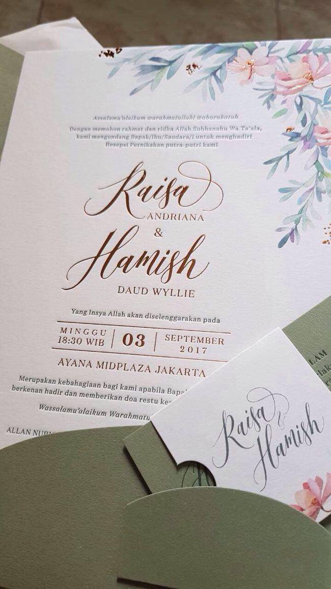 Undangan pernikahan Raisa-Hamish