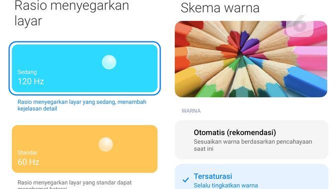Redmi Note 10 Pro, pengaturan refresh rate (Liputan6.com/ Agustin Setyo W).