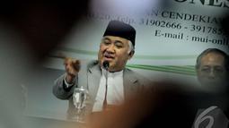 Din mengucapkan terimakasih atas ucapan capres nomor urut 2 tersebut di Gedung Majelis Ulama Indonesia di Jalan Proklamasi, Jakarta Pusat, Selasa (24/6/2014) (Liputan6.com/Faizal Fanani)